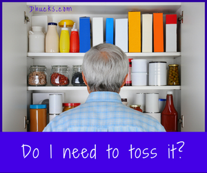 Man looking in pantry cupboard - asking do I need to toss it?