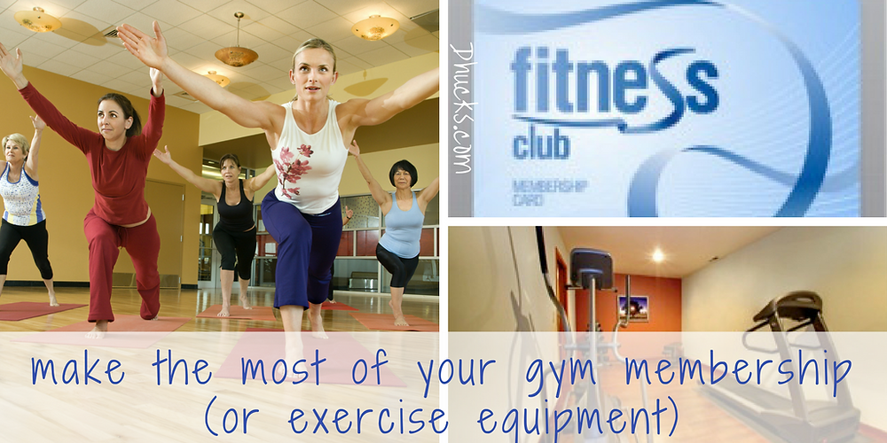 """Three pictures - yoga class with women in a yoga pose - fitness club membership card - home gym with treadmill and other equipment.  """"Make the most of your gym membership (or exercise equipment)."""