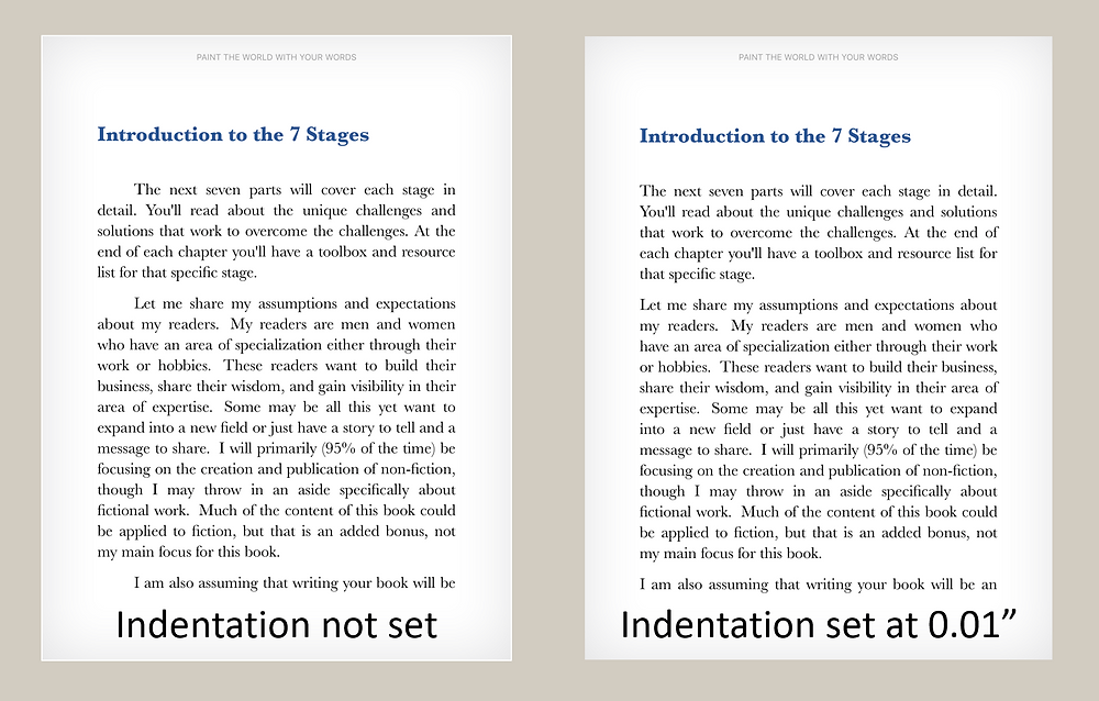 "Two chapters showing paragraphs with indents: Left - no set indentation for first line and KDP adds an indent; right image with 0.01"" indentation added looks like first line is left-aligned"