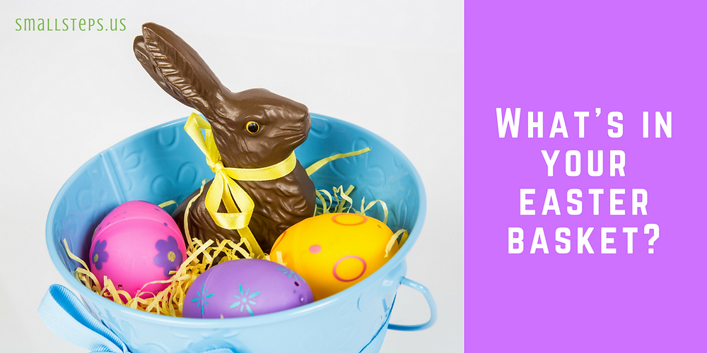 chocolate Easter bunny with three eggs in an basket - What's in your Easter basket?