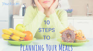 10 steps to planning your meals - woman deciding between fruit and donuts