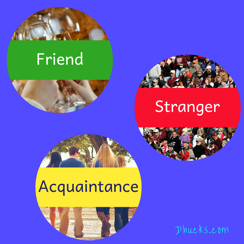 Sort into friends, acquaintances, and strangers (strategy by Judith Kolberg)
