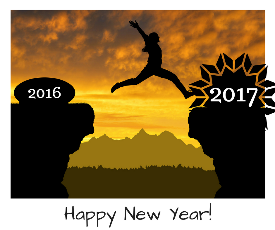 Happy New Year - Woman jumping from 2016 to 2017