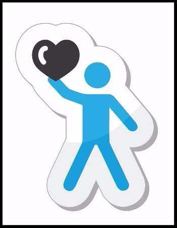 blue figure holding a heart