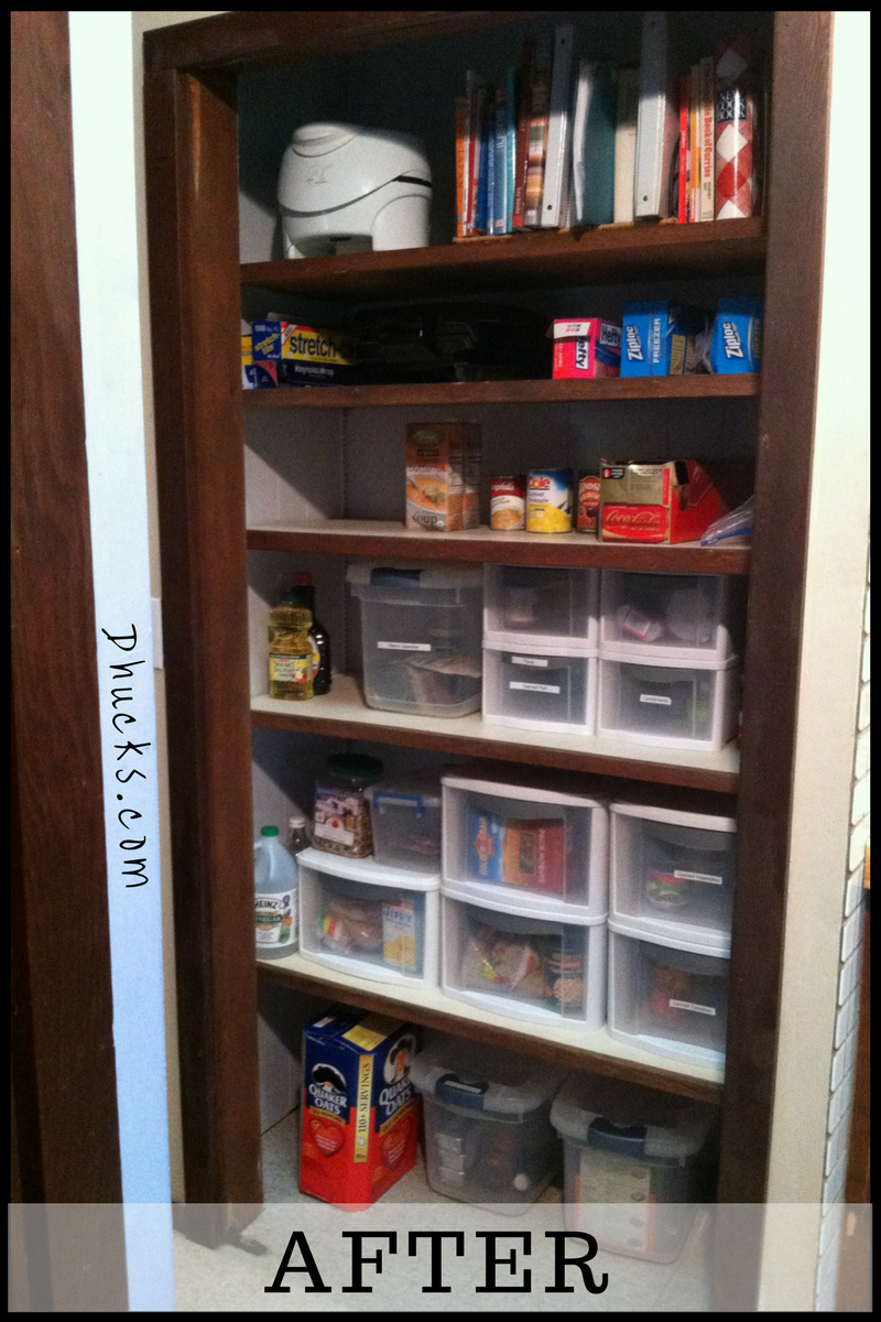 kitchen pantry after painting, repositioning shelves, sorting, organizing and labeling. AFTER picture