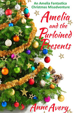 Colorful Christms tree with small dog peeking from behind. Cover of Amelia and the Purloined Presents.