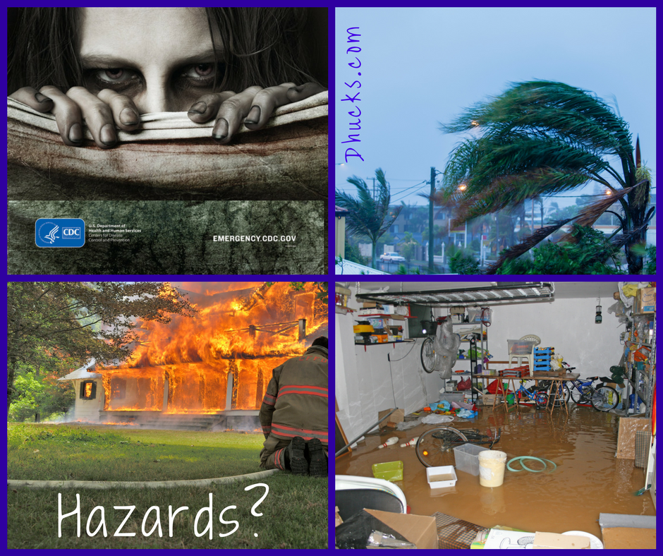 Examples of Hazards: zombies (emergency.cdc.gov), hurricanes, house fires, flooding