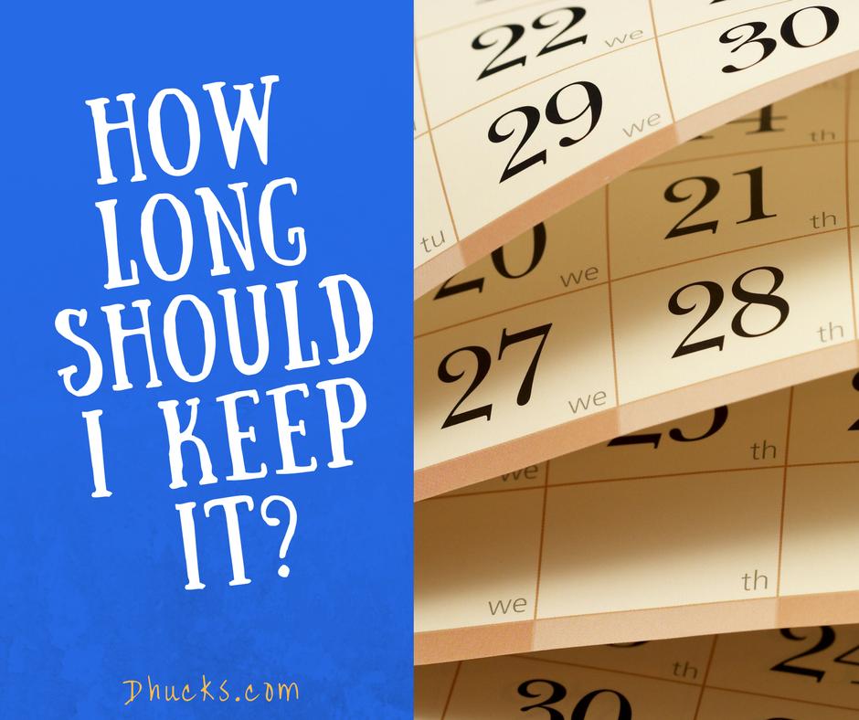 Calendar - how long should I keep this?