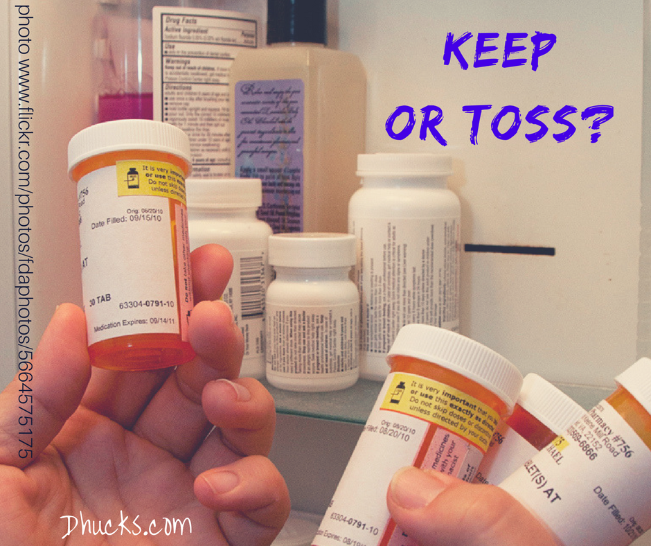 Keep or Toss Expired Medication - photo of medicine cabinet and Rx pill bottles