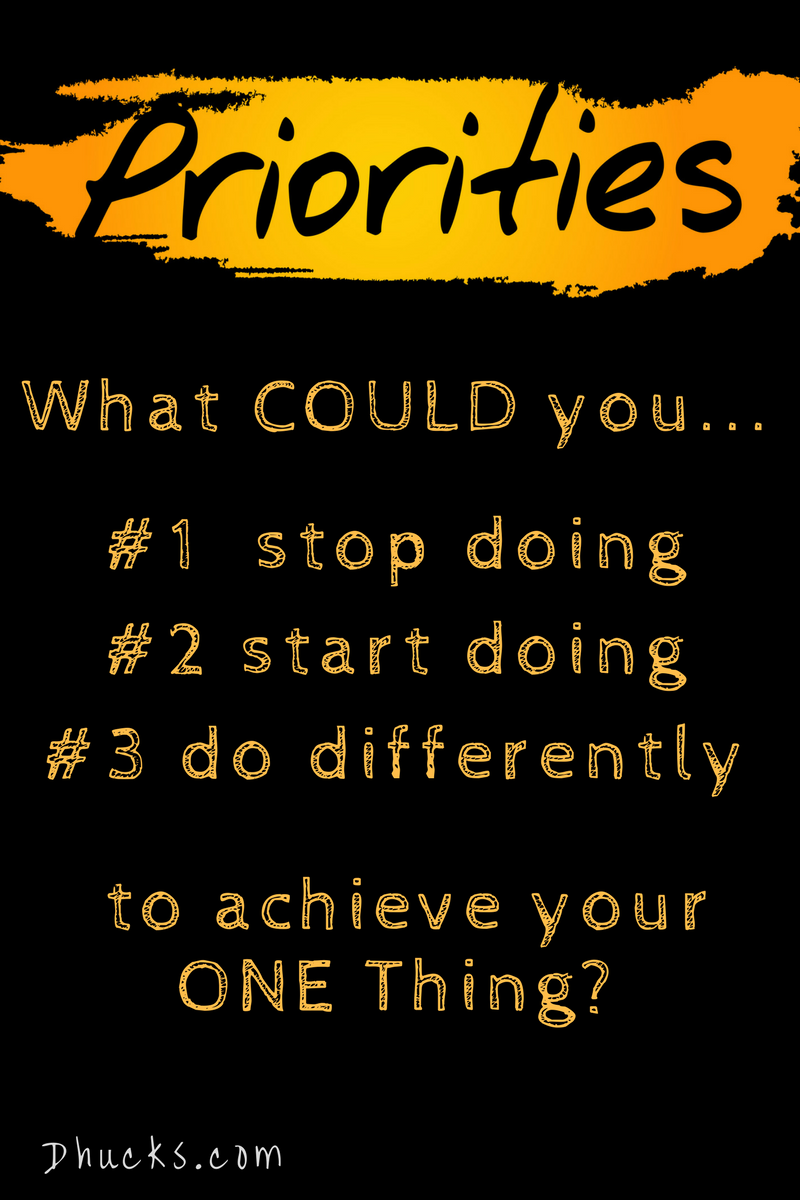 "gold lettering on black, labeled priorities.  ""What could you...#1 stop doing #2 start doing #3 do differently ...to achieve your ONE thing"""