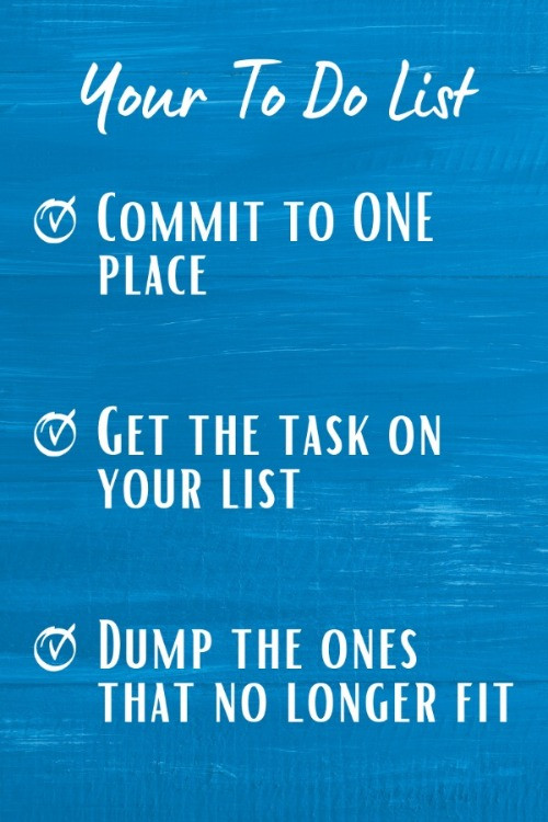 Text on Blue background - Spring Clean Your To Do List - 3 Steps