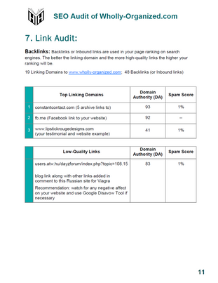 SEO Audit for Wholly-Organized