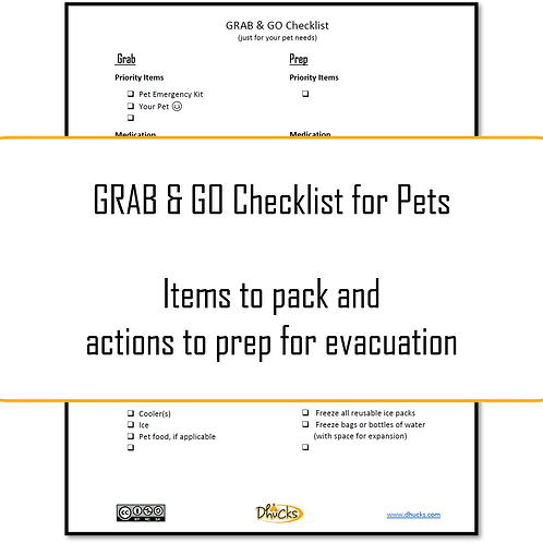 Step 3: Grab & Go Checklist for Pets