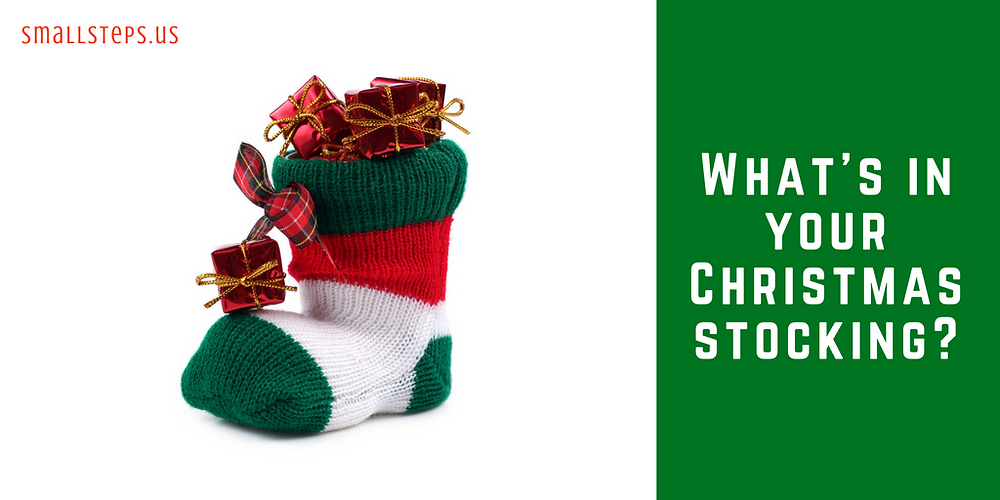 Christmas stocking filled with gifts - what's in your Christmas stocking?
