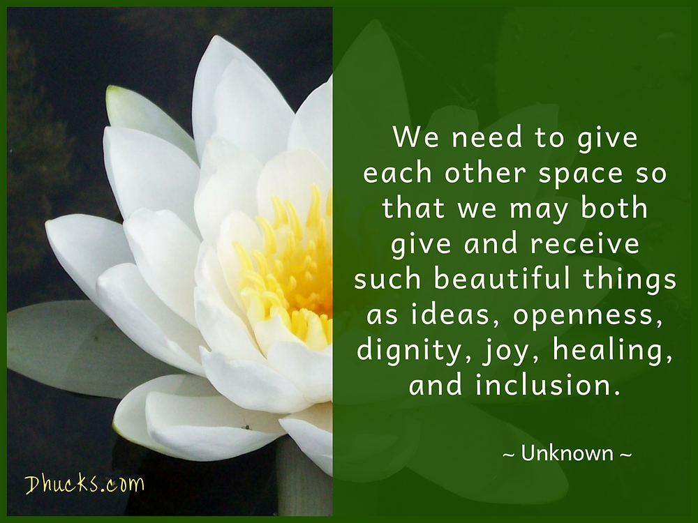 Quote: We need to give each other space so that we may both give and receive such beautiful things as ideas, openness, dignity, joy, healing, and inclusion. ~unknown~