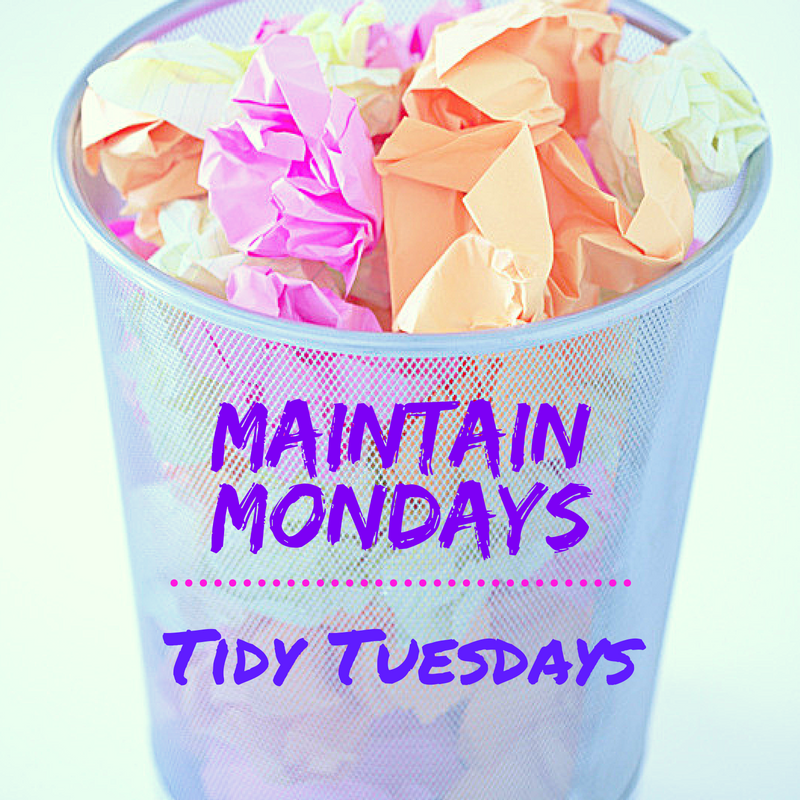 trash can with brigh colored paper has manic Mondays and tidy Tuesdays labels