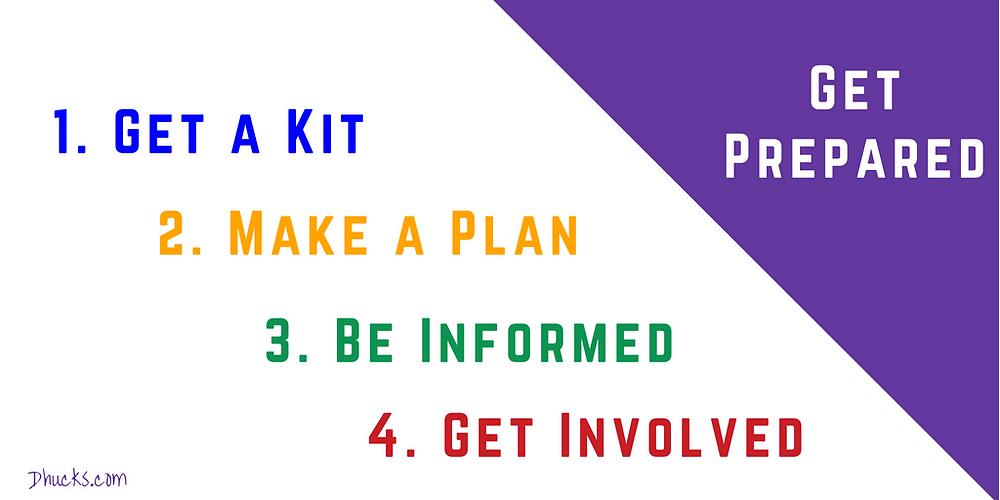 Get Prepared: 1. Get a Kit. 2. Make a Plan. 3. Be Informed. 4. Get Involved