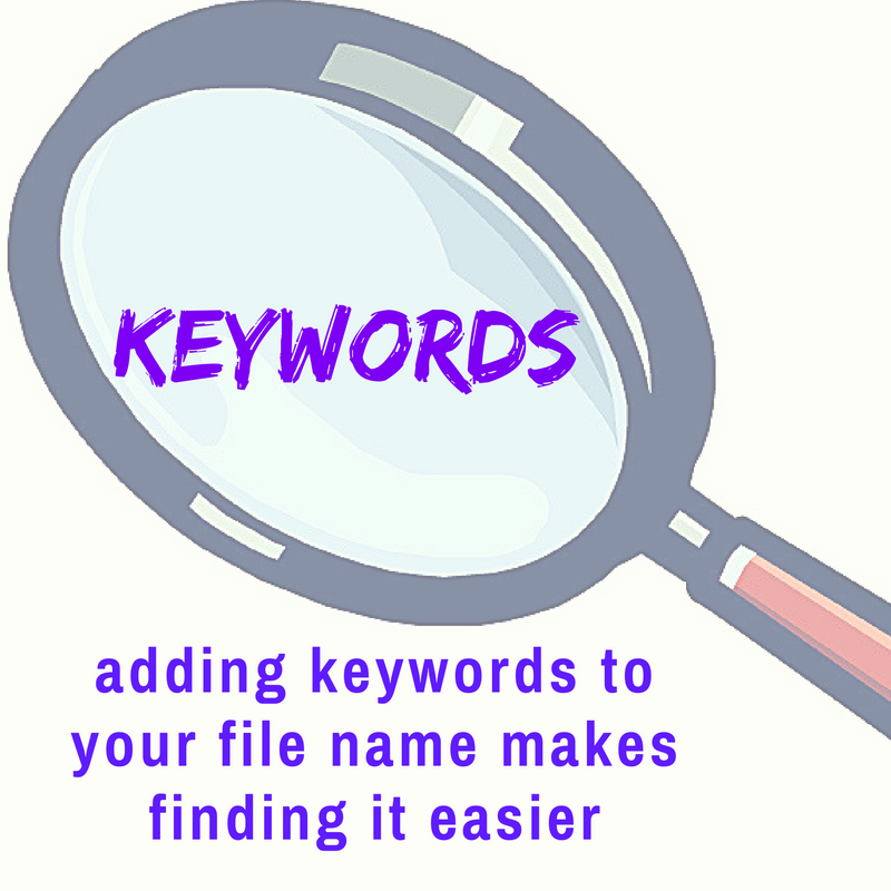 magnifying glass focusing on keywords.  adding keywords to your file name makes finding it easier
