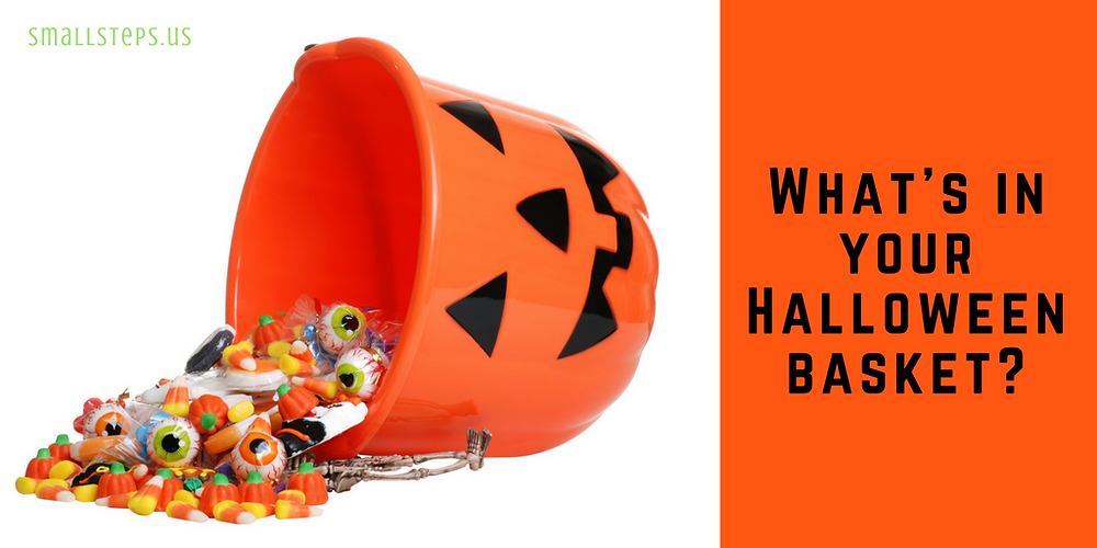Halloween jack-o-lantern basket with candies spilling out - What's in your Halloween basket?