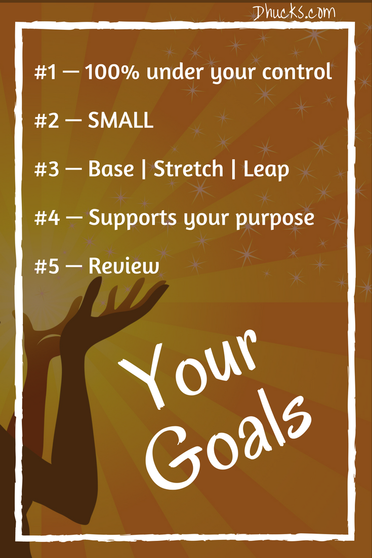 5 keys to your goals - 100% under your control; SMALL; base, stretch and leap; supports your purpose; and review