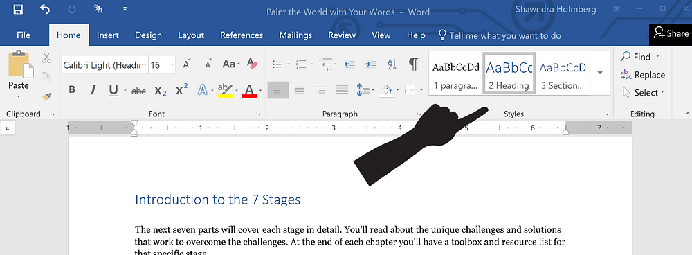 Word document with hand pointing at the Dialog Box launcher for Paragraph Settings