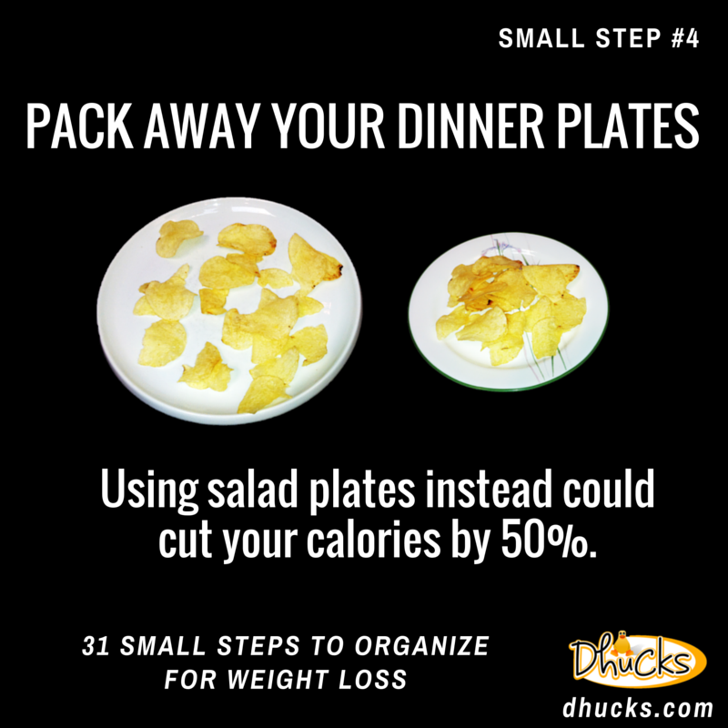 pack away your dinner plates - using salad plates instead could cut your calories by 50%