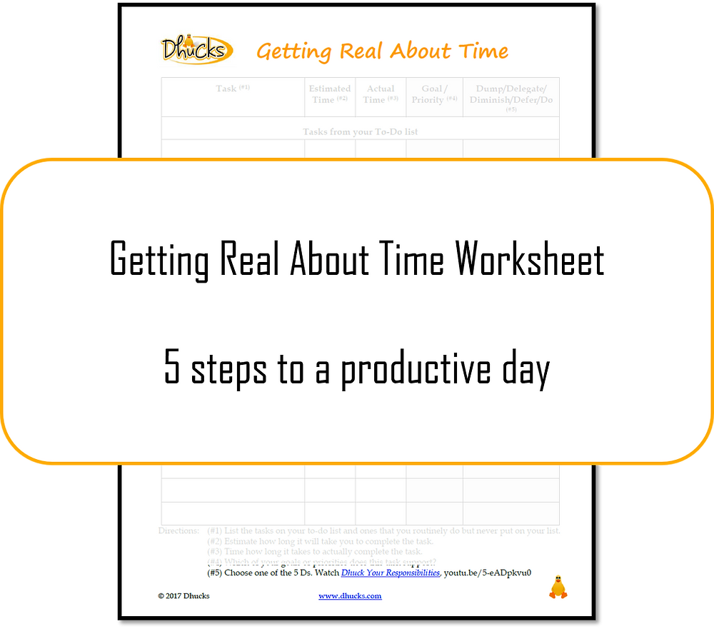 Getting Real About Time worksheet - 5 steps to a productive day