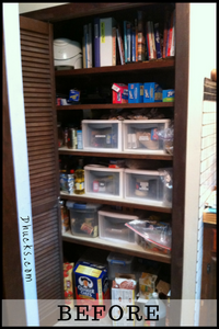 Organize your kitchen pantry - BEFORE shelves overflowing and disorganized - BEFORE picture