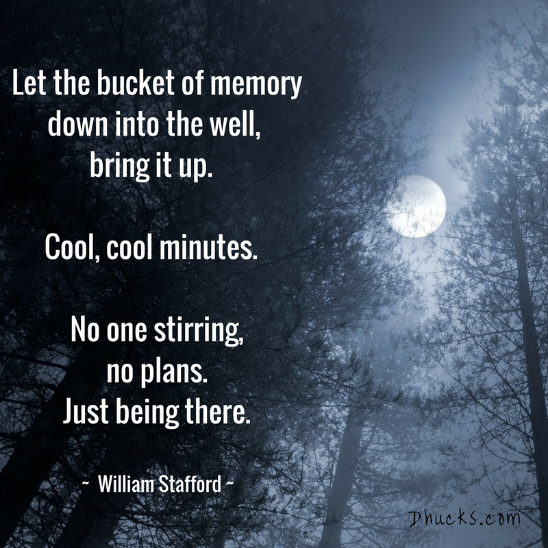 moon above the trees. Quote - let the bucket of memory down into the well, bring it up. cool, cool minutes. no one stirring, no plans, just be there by william stafford