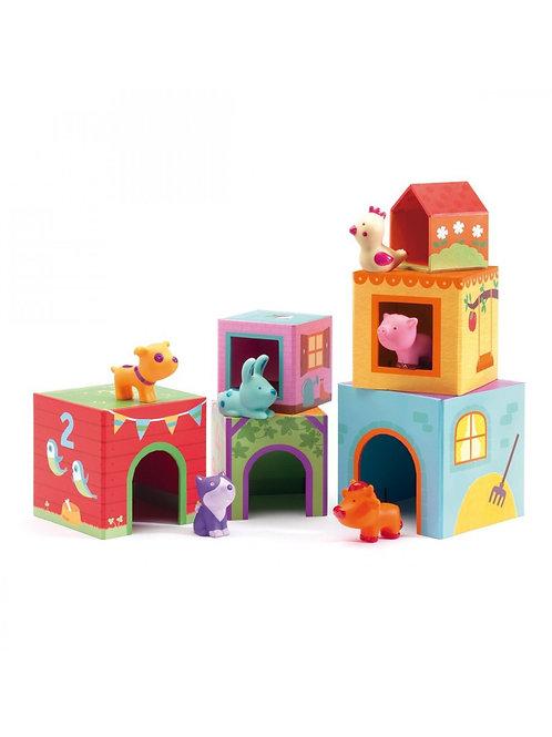 Cubes 1er Âge Topanifarm - Djeco chez Little Jeanne