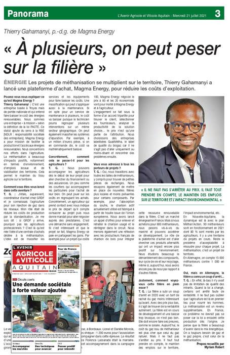 NOTRE CEO Thierry GAHAMANYI a été interviewé par L'Avenir Agricole et Viticole Aquitain