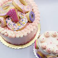 Donut and mini donut cake