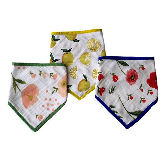 Premium Muslin Bamboo Bandana Bibs 3 Pack, Summer Fruits & Flowers