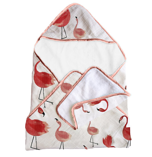 Premium Bamboo Muslin Hooded Towel and Washcloth Set - Flamingo