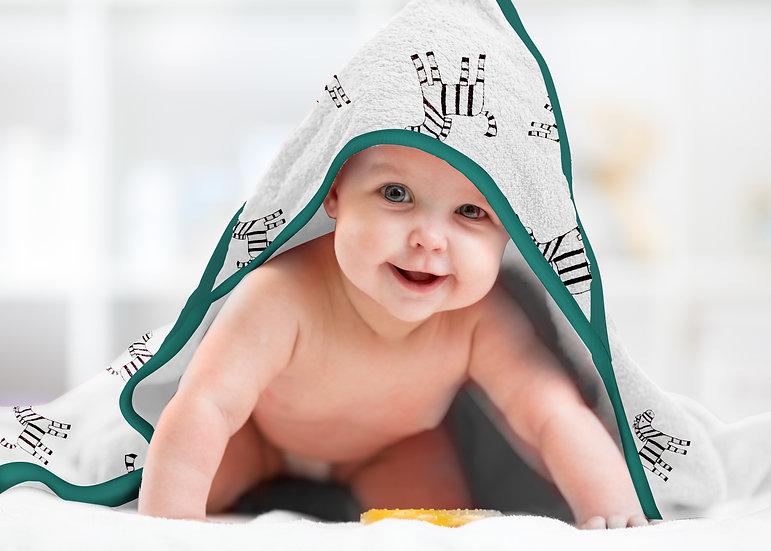 Premium Bamboo Muslin Hooded Towel and Washcloth Set - Zebra