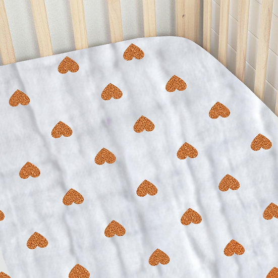 Premium Organic Cotton Muslin Cotbed Sheet - Love