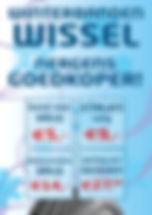 Nergens goedkoper winterbanden wisselen. Band met velg: 5 euro, Stalen velg: 9 euro, Velg: 14 euro, Opslag per seizoen: 27,50 euro