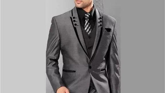 trajes Gris solapa delgada negro a la medida