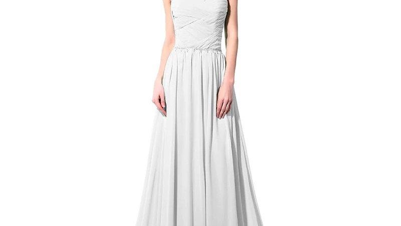 Vestido blanco de noche, con cuentas de cristales, largo suelo,