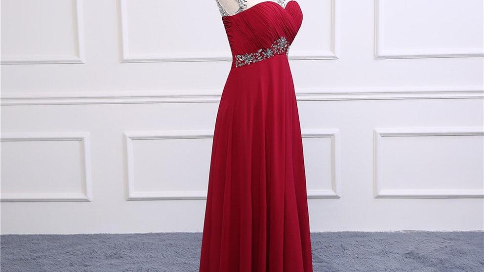 Vestido rojo con piedra, con espalda media afuera