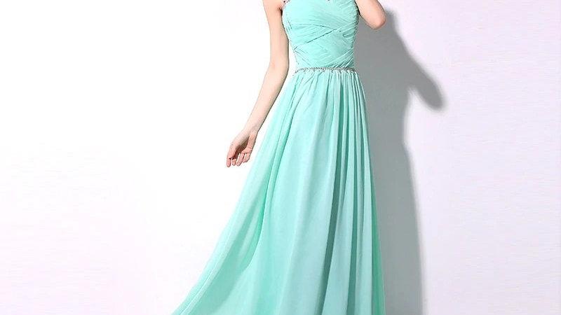 Vestido de noche con cuentas de cristales, largo suelo, Verde Aqua