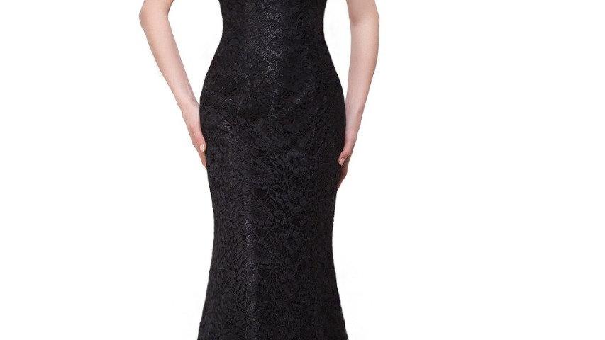 Elegante negro, VestidoLargo de Noche de Encaje