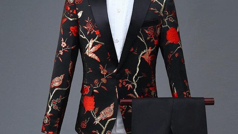 Diseño para hombre elegante bordado rojo Floral