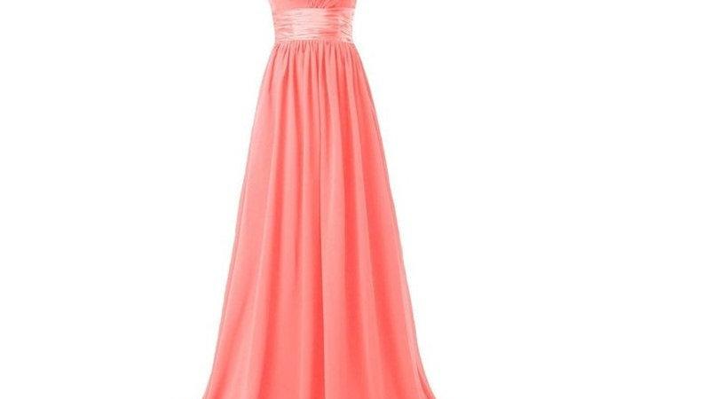 vestidos largos de dama de honor color coral.