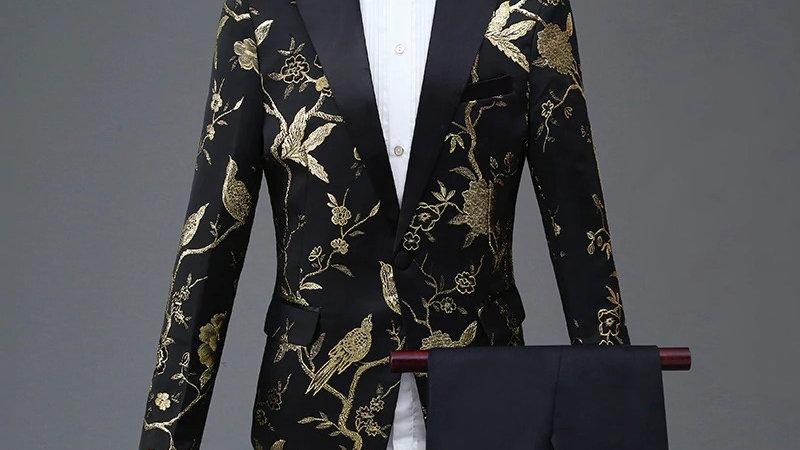 Diseño para hombre, elegante bordado azul, real verde, rojo Floral