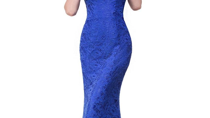 Elegante azul royal, VestidoLargo de Noche de Encaje