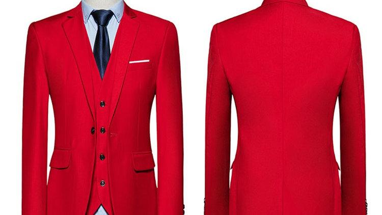Trajes de caballeros rojo con pantalones negros o blanco