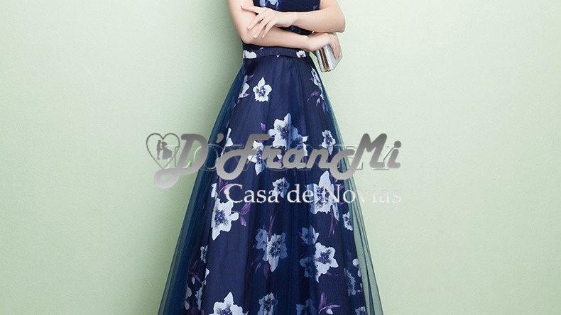 Vestido con estampado en flores azul oscuro paraeventos ocasiones