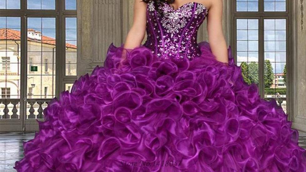 Vestidos de 15 anos púrpura lentejuelas cristales baratos Quinceañera