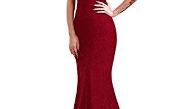 Elegante rojo y rojo vino, VestidoLargo de Noche de Encaje